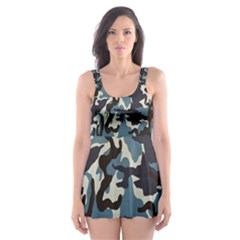 Blue Water Camouflage Skater Dress Swimsuit