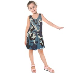 Blue Water Camouflage Kids  Sleeveless Dress