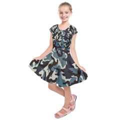 Blue Water Camouflage Kids  Short Sleeve Dress