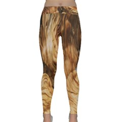 Brown Beige Abstract Painting Classic Yoga Leggings