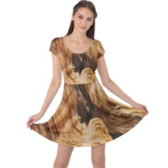 Brown Beige Abstract Painting Cap Sleeve Dresses
