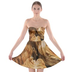 Brown Beige Abstract Painting Strapless Bra Top Dress