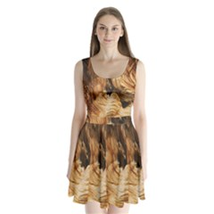 Brown Beige Abstract Painting Split Back Mini Dress