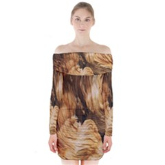 Brown Beige Abstract Painting Long Sleeve Off Shoulder Dress