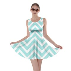 Chevrons Zigzags Pattern Blue Skater Dress