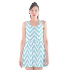 Chevrons Zigzags Pattern Blue Scoop Neck Skater Dress