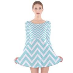 Chevrons Zigzags Pattern Blue Long Sleeve Velvet Skater Dress