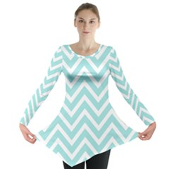 Chevrons Zigzags Pattern Blue Long Sleeve Tunic
