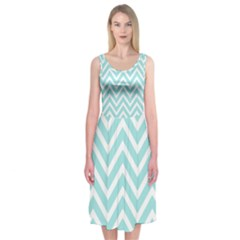 Chevrons Zigzags Pattern Blue Midi Sleeveless Dress