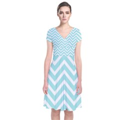 Chevrons Zigzags Pattern Blue Short Sleeve Front Wrap Dress