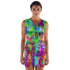Compression Pattern Generator Wrap Front Bodycon Dress
