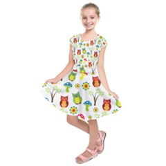 Cute Owl Wallpaper Pattern Kids  Short Sleeve Dress