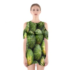 Food Summer Pattern Green Watermelon Cutout Shoulder Dress