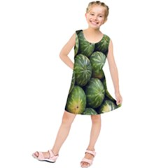 Food Summer Pattern Green Watermelon Kids  Tunic Dress
