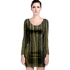 Green And Brown Bamboo Trees Long Sleeve Bodycon Dress