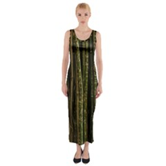 Green And Brown Bamboo Trees Fitted Maxi Dress