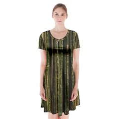 Green And Brown Bamboo Trees Short Sleeve V-neck Flare Dress