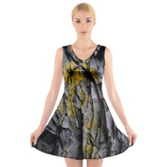 Grey Yellow Stone V-Neck Sleeveless Skater Dress