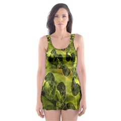 Olive Seamless Camouflage Pattern Skater Dress Swimsuit