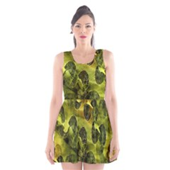 Olive Seamless Camouflage Pattern Scoop Neck Skater Dress