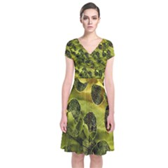 Olive Seamless Camouflage Pattern Short Sleeve Front Wrap Dress