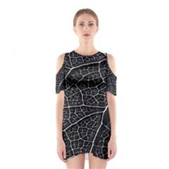 Leaf Pattern  B&w Cutout Shoulder Dress