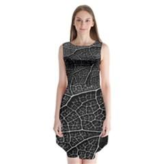 Leaf Pattern  B&w Sleeveless Chiffon Dress