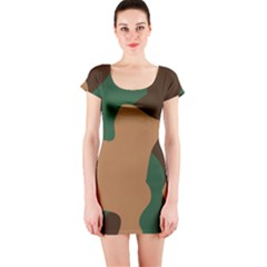 Military Camouflage Short Sleeve Bodycon Dress