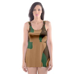 Military Camouflage Skater Dress Swimsuit