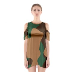 Military Camouflage Cutout Shoulder Dress