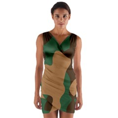Military Camouflage Wrap Front Bodycon Dress