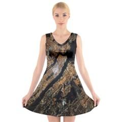 Night View V-Neck Sleeveless Skater Dress