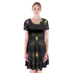 Abstract Sphere Box Space Hyper  Short Sleeve V-neck Flare Dress