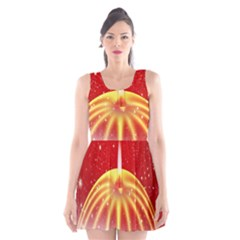 Advent Candle Star Christmas Scoop Neck Skater Dress