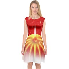 Advent Candle Star Christmas Capsleeve Midi Dress