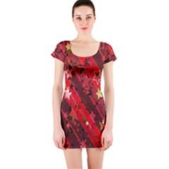 Advent Star Christmas Poinsettia Short Sleeve Bodycon Dress