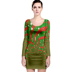 Background Abstract Christmas Pattern Long Sleeve Bodycon Dress