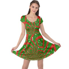Background Abstract Christmas Pattern Cap Sleeve Dresses