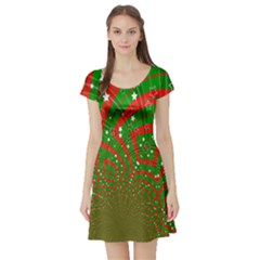 Background Abstract Christmas Pattern Short Sleeve Skater Dress