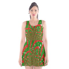 Background Abstract Christmas Pattern Scoop Neck Skater Dress