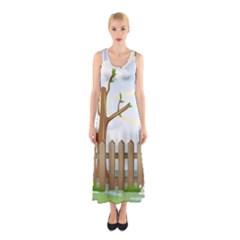 Background Spring Winter Summer Sleeveless Maxi Dress