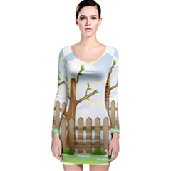 Background Spring Winter Summer Long Sleeve Bodycon Dress