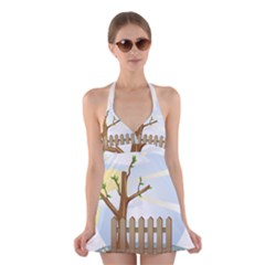 Background Spring Winter Summer Halter Swimsuit Dress