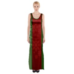 Background Christmas Curtain Red Maxi Thigh Split Dress