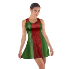 Background Christmas Curtain Red Cotton Racerback Dress