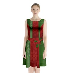 Background Christmas Curtain Red Sleeveless Chiffon Waist Tie Dress