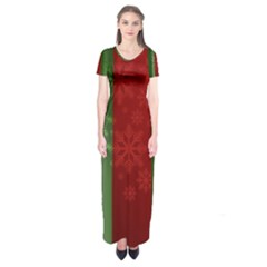 Background Christmas Curtain Red Short Sleeve Maxi Dress