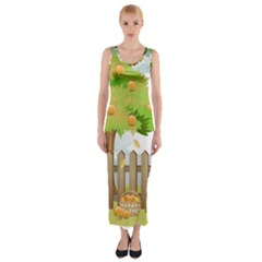 Background Spring Winter Summer   Fitted Maxi Dress