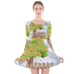 Background Spring Winter Summer   Long Sleeve Velvet Skater Dress
