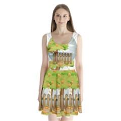 Background Spring Winter Summer   Split Back Mini Dress